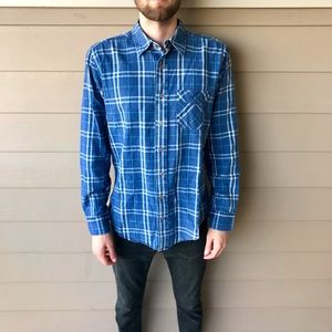 American Apparel Plaid Button Up Blue